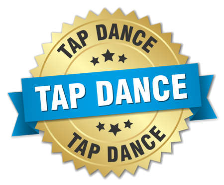 tap dance: tap dance 3d gold badge with blue ribbon Illustration