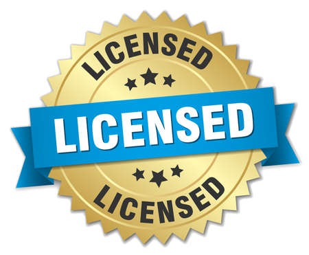 licensed: licensed 3d gold badge with blue ribbon Illustration