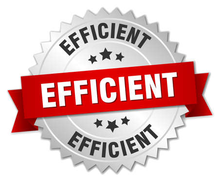efficient: efficient 3d silver badge with red ribbon