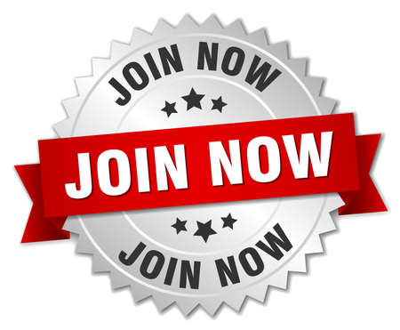 join now: join now 3d silver badge with red ribbon