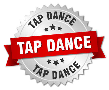 tap dance: tap dance 3d silver badge with red ribbon Illustration