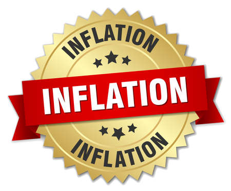 inflation: inflation 3d gold badge with red ribbon