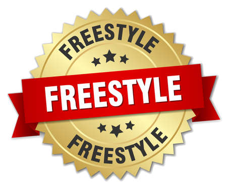 freestyle: freestyle 3d gold badge with red ribbon