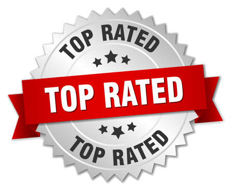rated: top rated 3d silver badge with red ribbon