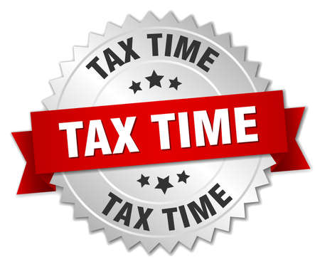 tax time: tax time 3d silver badge with red ribbon Illustration