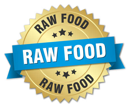 raw food: raw food 3d gold badge with blue ribbon