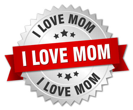 love mom: i love mom 3d silver badge with red ribbon Vectores