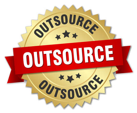 outsource: outsource 3d gold badge with red ribbon