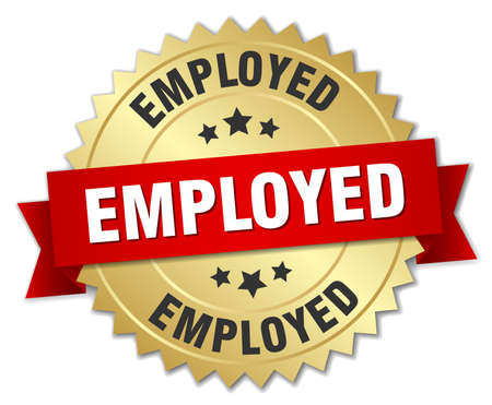 employed: employed 3d gold badge with red ribbon