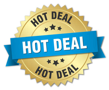 hot deal: hot deal 3d gold badge with blue ribbon