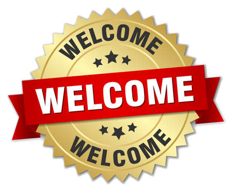 welcome: welcome 3d gold badge with red ribbon