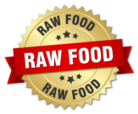 raw food: raw food 3d gold badge with red ribbon Illustration