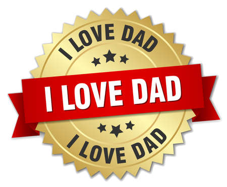 i love dad 3d gold badge with red ribbon