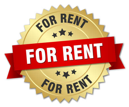 for rent: for rent 3d gold badge with red ribbon