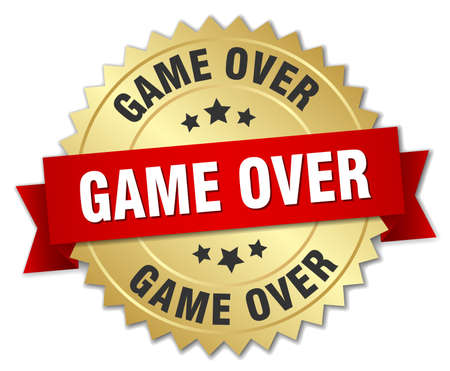 the game is over: game over 3d gold badge with red ribbon Illustration
