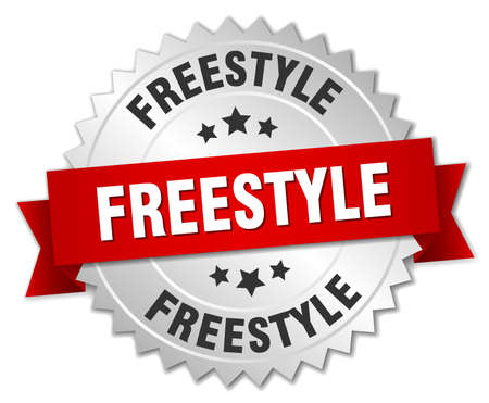 freestyle: freestyle 3d silver badge with red ribbon Illustration