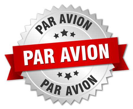 par avion: par avion 3d silver badge with red ribbon