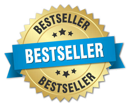 bestseller: bestseller 3d gold badge with blue ribbon Illustration