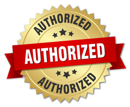 authorized: authorized 3d gold badge with red ribbon