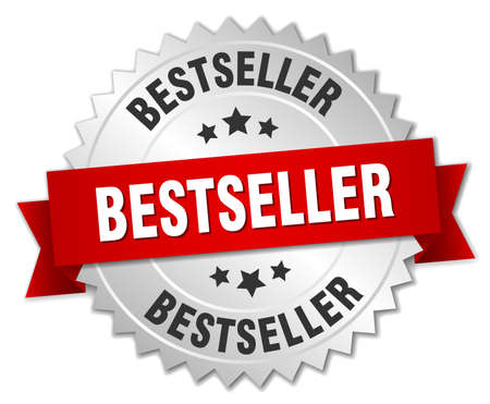 bestseller: bestseller 3d silver badge with red ribbon