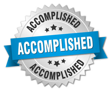 accomplish: accomplished 3d silver badge with blue ribbon