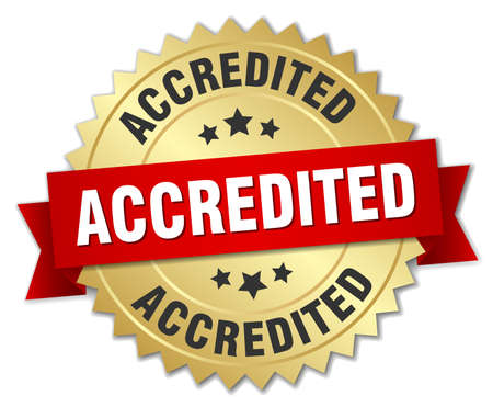 accredited: accredited 3d gold badge with red ribbon Illustration
