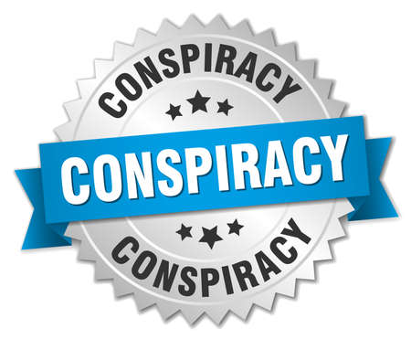 conspiracy: conspiracy 3d silver badge with blue ribbon