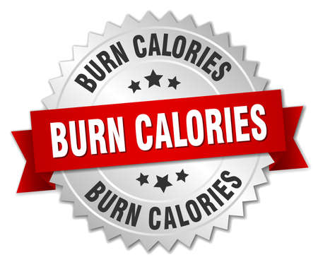 calories: burn calories 3d silver badge with red ribbon