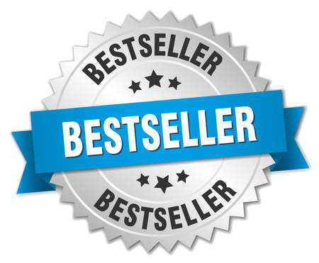 bestseller: bestseller 3d silver badge with blue ribbon