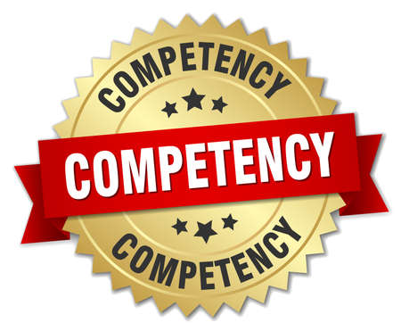 competency: competency 3d gold badge with red ribbon Illustration