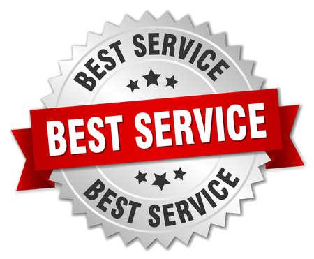 best service: best service 3d silver badge with red ribbon