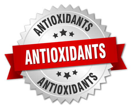 antioxidants: antioxidants 3d silver badge with red ribbon