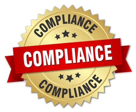 compliance: compliance 3d gold badge with red ribbon Illustration
