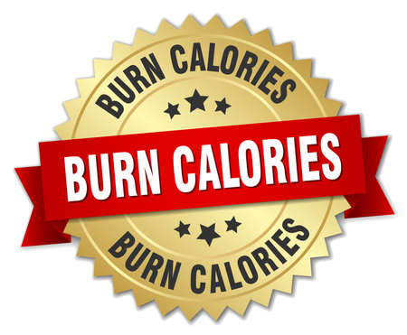 burn: burn calories 3d gold badge with red ribbon