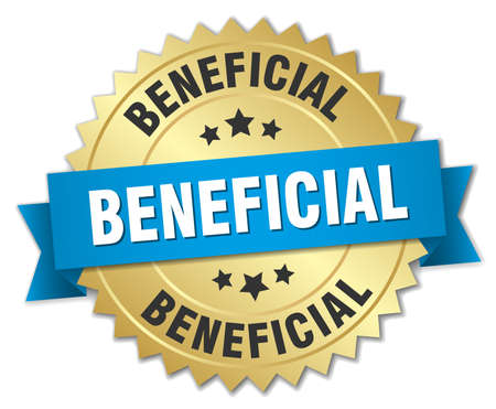 beneficial: beneficial 3d gold badge with blue ribbon Illustration