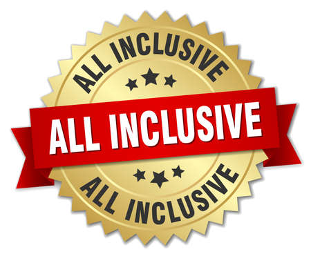 inclusive: all inclusive 3d gold badge with red ribbon