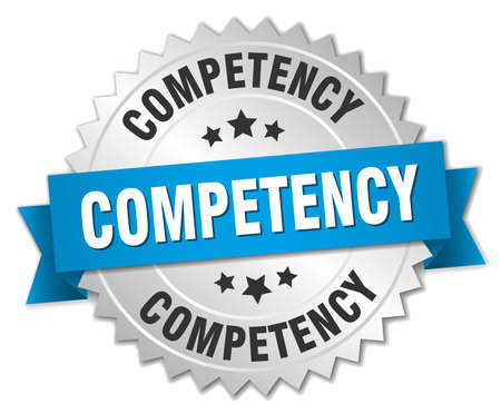 competency: competency 3d silver badge with blue ribbon Illustration