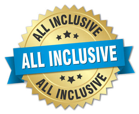 inclusive: all inclusive 3d gold badge with blue ribbon