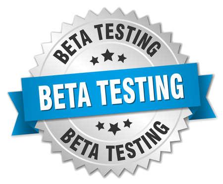beta: beta testing 3d silver badge with blue ribbon