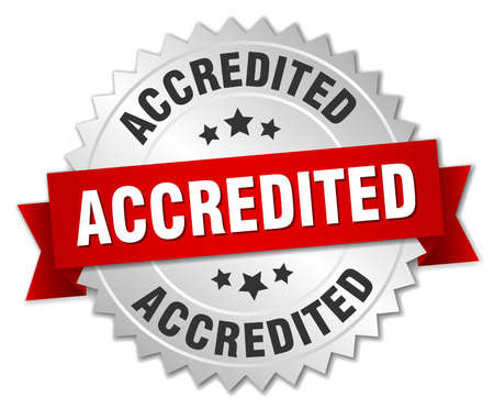 accredited: accredited 3d silver badge with red ribbon