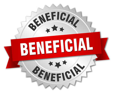 beneficial: beneficial 3d silver badge with red ribbon