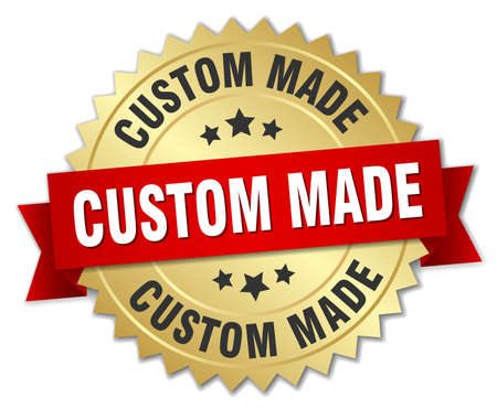 custom made: custom made 3d gold badge with red ribbon Illustration