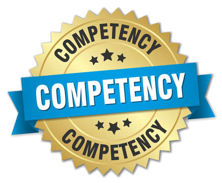 competent: competency 3d gold badge with blue ribbon