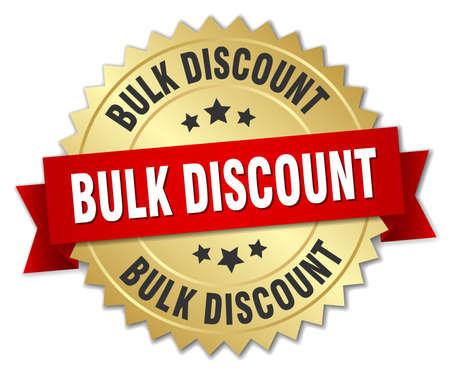 bulk: bulk discount 3d gold badge with red ribbon Illustration