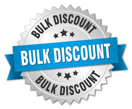 bulk: bulk discount 3d silver badge with blue ribbon Illustration