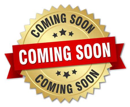 coming soon 3d gouden badge met rood lint Stock Illustratie