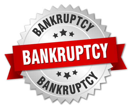 bankruptcy: bankruptcy 3d silver badge with red ribbon