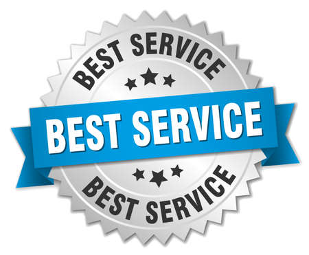 best service: best service 3d silver badge with blue ribbon