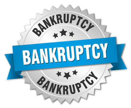 bankruptcy: bankruptcy 3d silver badge with blue ribbon