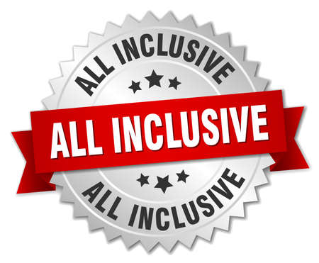 inclusive: all inclusive 3d silver badge with red ribbon